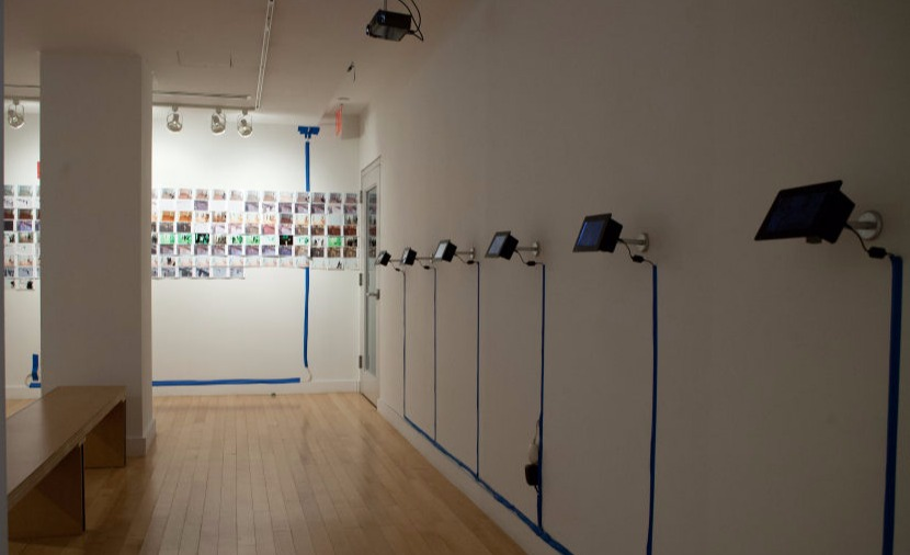 ADPC at the Hudson Guild Gallery - a view of a series of small screens mounted with small armetures and with wires taped to the wall